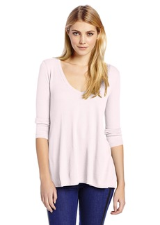 Three Dots Women's 3/4 Sleeve Relaxed High Low Thermal Top