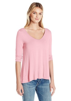 Three Dots Women's 3/4 Sleeve Soft V-Neck Drapey Tee  S