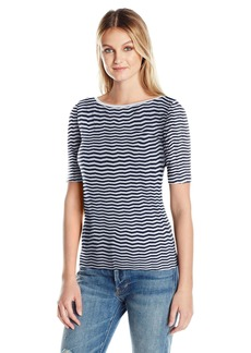 Three Dots Women's 3/4 Sleeve Textured Tee  S