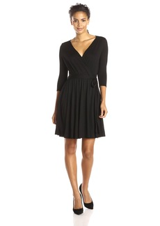 Three Dots Women's 3/4 Sleeve Wrap Tie Waist Dress