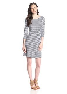 Three Dots Women's 3/4 Slv British Neck Dress  L