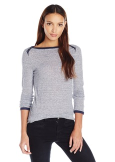Three Dots Women's 3/4 SLV British Tee W/Side Slit  L
