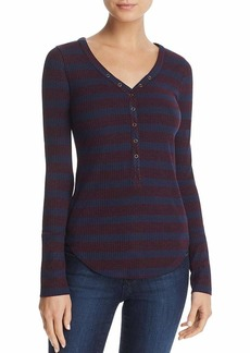 Three Dots Women's Alpine Stripe Henley Tight Short Shirt Aubergine/Night iris