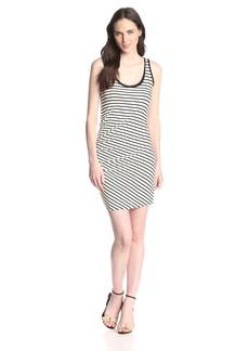 Three Dots Women's Asymmetric Shirred Tank Dress In Stripes