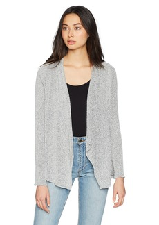 Three Dots Women's Boucle Sweater Knit Short Loose Cardigan Night iris