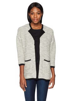 Three Dots Women's Boucle with Lace Mid Loose Jacket