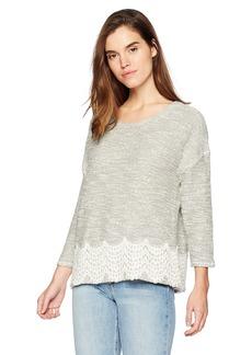 Three Dots Women's Boucle w/lace 3/4 SLV mid Shirt