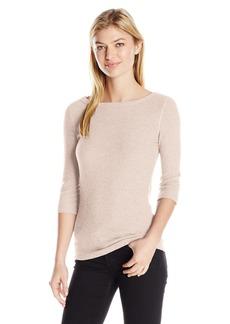 Three Dots Women's Brushed Sweater 3/4 SLV Tight Short Shirt