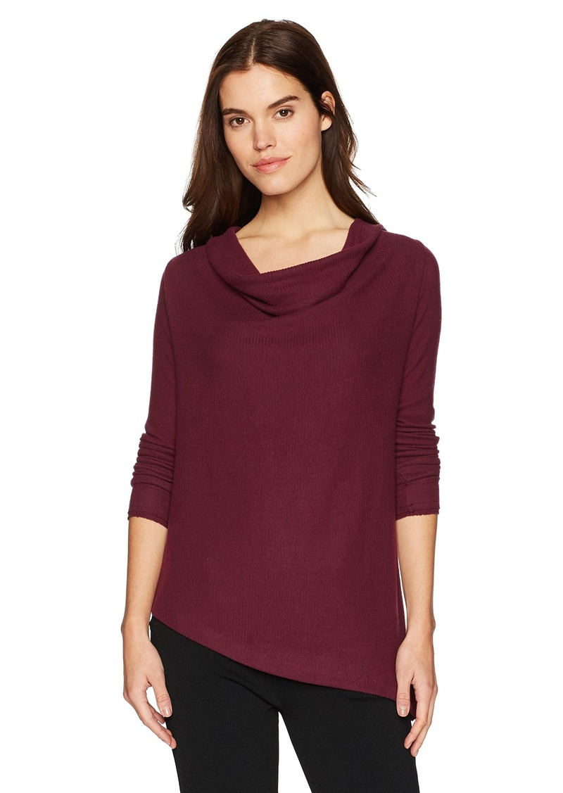 Three Dots Women's Brushed Sweater Asymmetric Loose Long Shirt