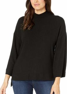 Three Dots Women's Brushed Sweater HIGH Low Mock Neck