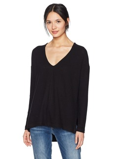 Three Dots Women's Brushed Sweater Rib High Low Loose Mid Top