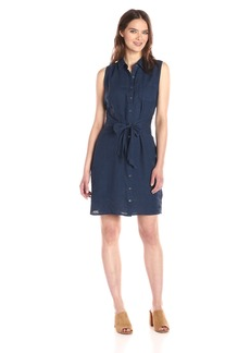 Three Dots Women's Button up Tie Front Dress  L