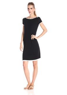 Three Dots Women's Cap Sleeve 2 Tone Dress