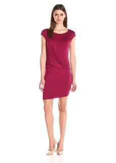 Three Dots Women's Cap Sleeve Drape Front Dress