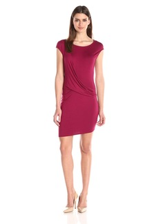 Three Dots Women's Cap Sleeve Drape Front Dress