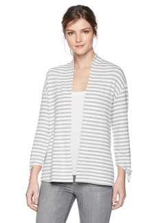 Three Dots Women's Cape cod Stripe Loose Open Cardigan