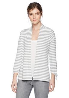 Three Dots Women's Cape Cod Stripe Loose Open Cardigan  Extra Large