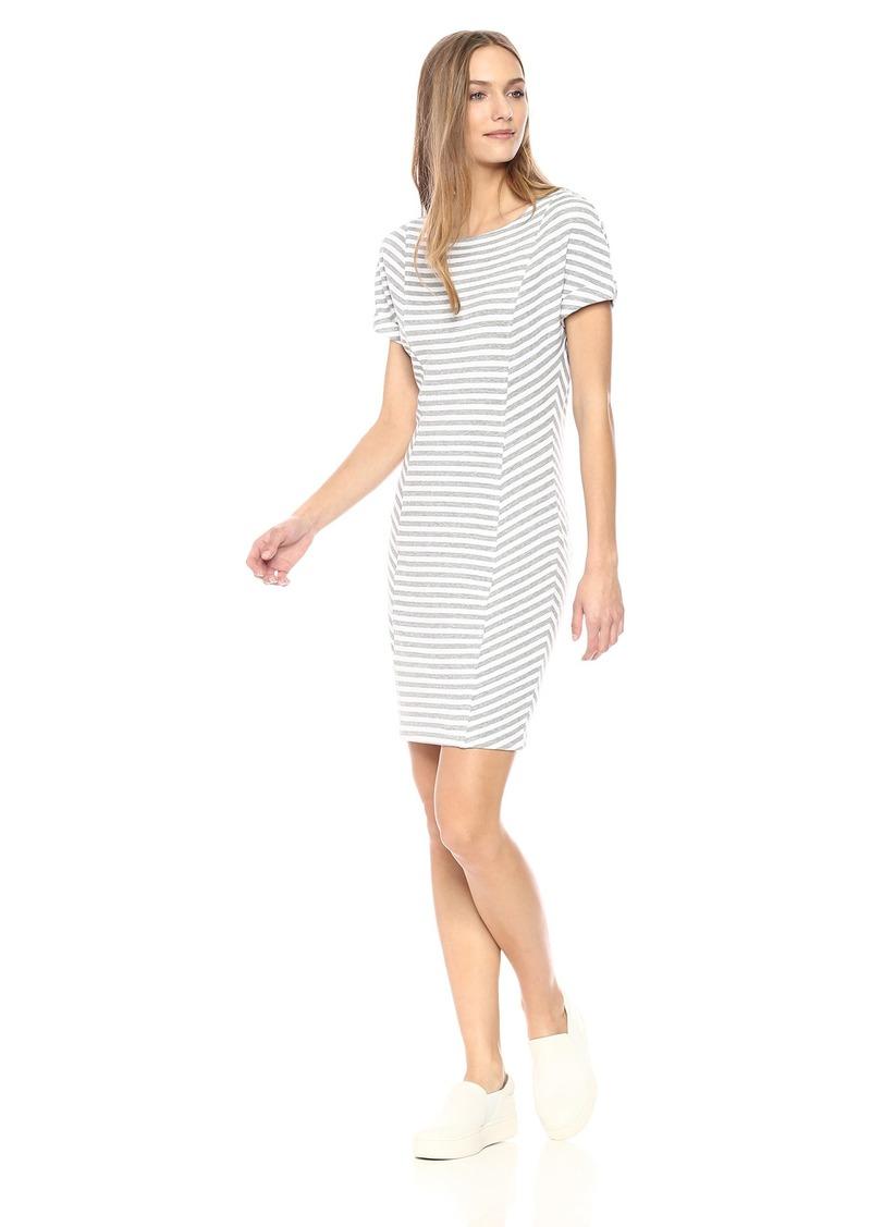 Three Dots Women's Cape cod Stripe Tight mid Dress  Extra Large