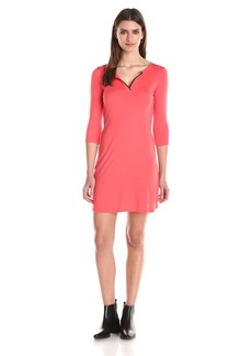 Three Dots Women's Charlotte Rib Tipped V Neck Shirt Dress