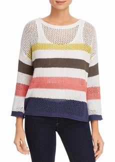 Three Dots Women's color Stripe mid Sweater