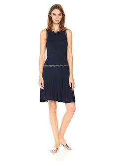 Three Dots Women's Contrast Stitch Heritage Rib Fit & Flare Dress Night iris L