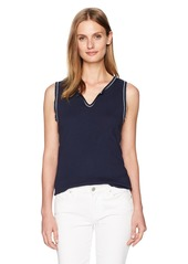 Three Dots Women's Contrast Stitch Heritage Rib Split Neck Tank Night iris S