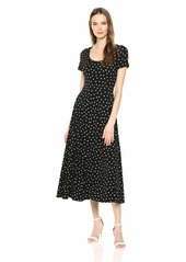 Three Dots Women's CS5872 Painted DOT Jersey Scoop Neck S/S Dress Black/White Extra Small