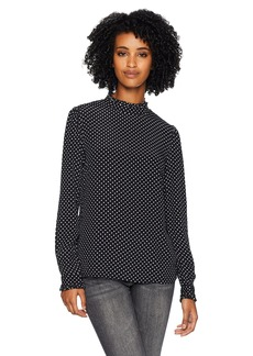 Three Dots Women's DC2684 dot Printed Crepe Ruffle Mock Neck top