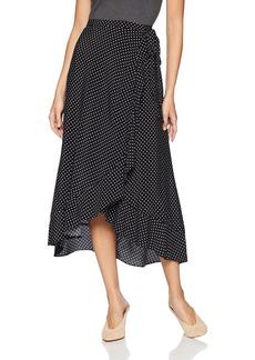 Three Dots Women's DC3230 dot Printed Crepe wrap Skirt