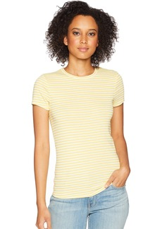 Three Dots Women's Desert Stripe Kennedy Short Sleeve Tight top  Extra Small