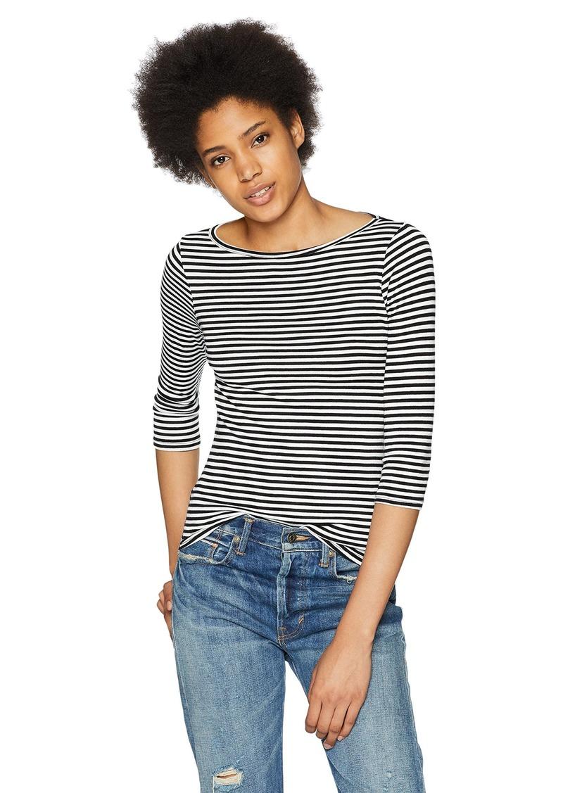 Three Dots Women's Desert Stripe Short Tight 3/4 tee