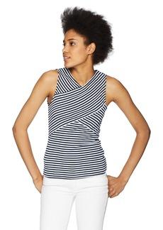 Three Dots Women's Desert Stripe Tight Short Sleeveless top Night iris Extra Small