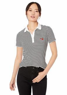 Three Dots Women's DI1579 Bali Stripe Polo Shirt