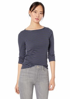Three Dots Women's DI4602 Bali Stripe British TEE  Extra Large