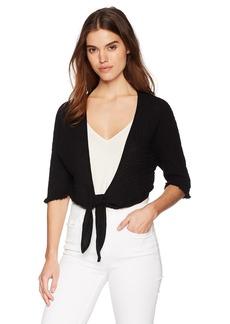 Three Dots Women's Double Gauze Short Tie Front Cardigan