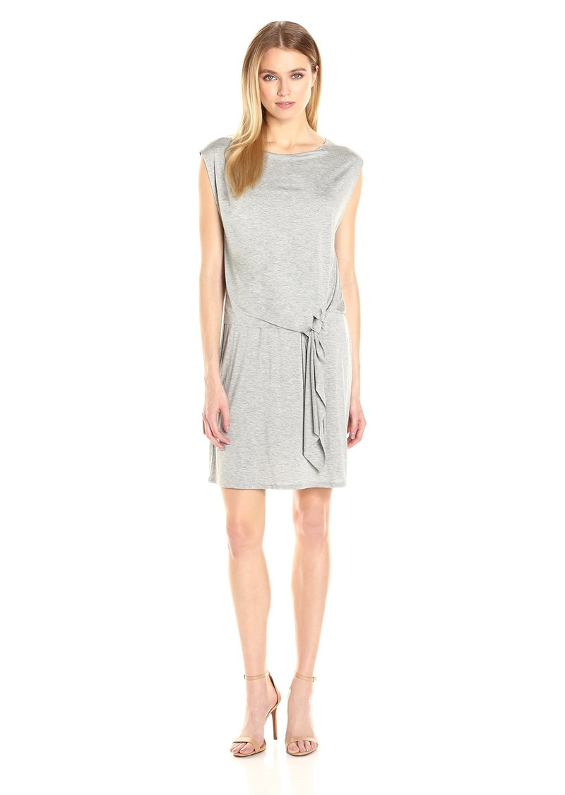 Three Dots Women's Double Jersey Layered Tie Front Dress  L