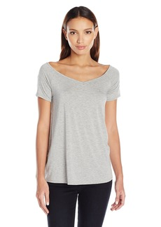 Three Dots Women's Double Jersey Off Shoulder Swing Tee  M