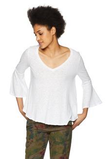Three Dots Women's eco Knit Loose Short Flounce top