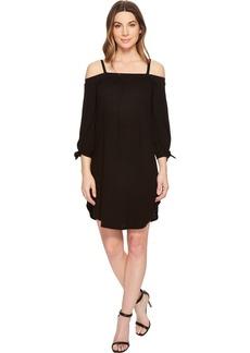 Three Dots Women's eco Knit Short Loose Cold Shoulder Dress