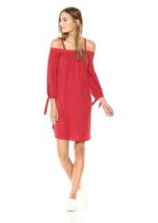 Three Dots Women's Eco Knit Short Loose Cold Shoulder Dress  EXTRA SMALL