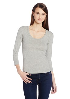 Three Dots Women's Essential Playgirl Scoop Neck 3/4 Sleeve Tee