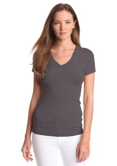 Three Dots Women's Essential V-Neck Short Sleeve Tee