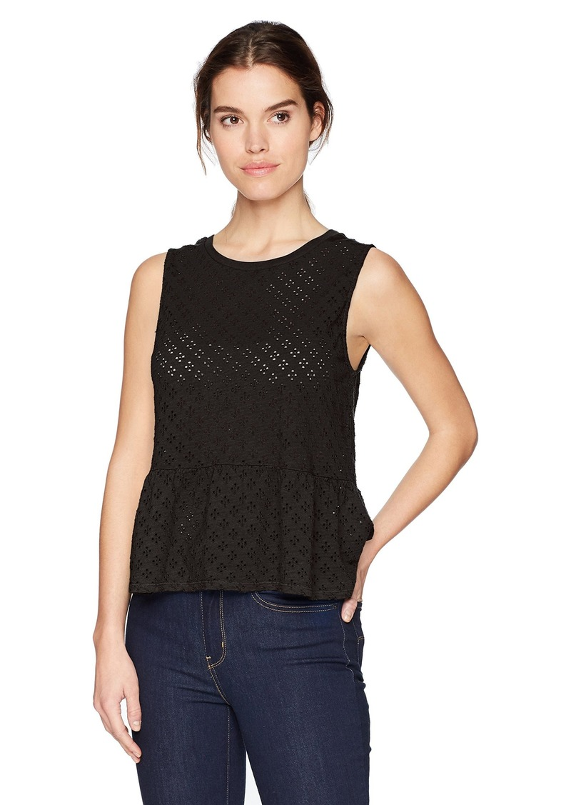 Three Dots Women's Eyelet Knit Sleeveless Short Tank