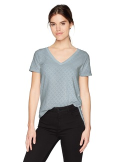 Three Dots Women's Eyelet Knit v-Neck Short Tee