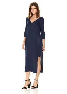 Three Dots Women's Featherweight Sweater Double v midi Loose Dress Night iris