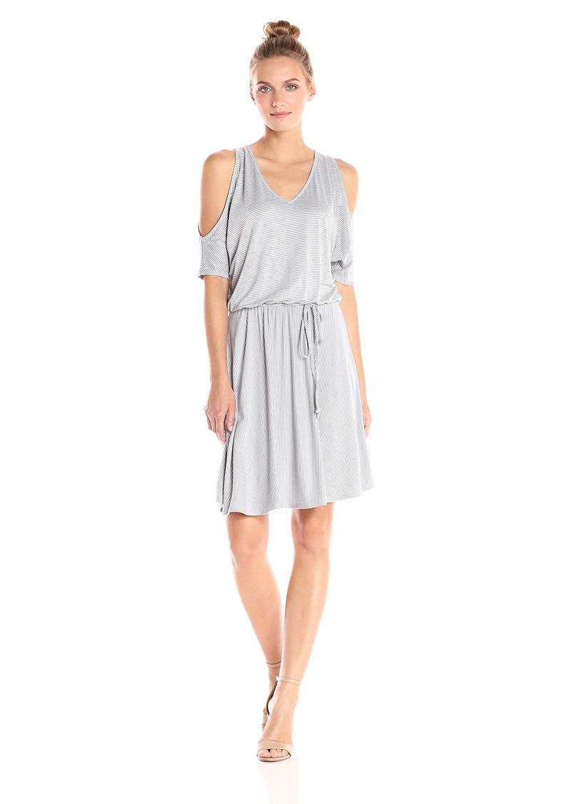Three Dots Women's Feeder Stripe Cold Shoulder Dress  M