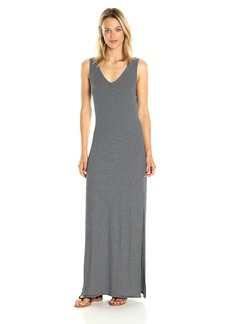 Three Dots Women's Feeder Stripe V Neck Maxi Dress  XS