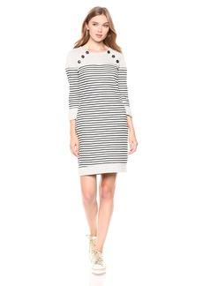 Three Dots Women's FG5844 Solid & Stripe Dress  Extra Large