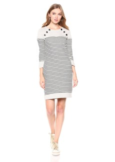 Three Dots Women's FG5844 Solid and Stripe Dress  Extra Large