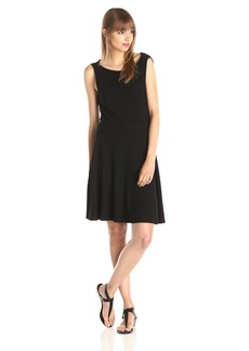 Three Dots Women's Fit and Flare Cowl Back Front Dress